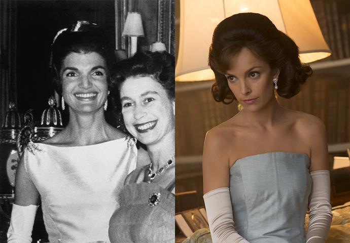 ***Jackie Kennedy's Buckingham visit***<br><bR> Despite changing the dress quite a bit, the beauty look on Jackie Kennedy is relatively spot on in the show.