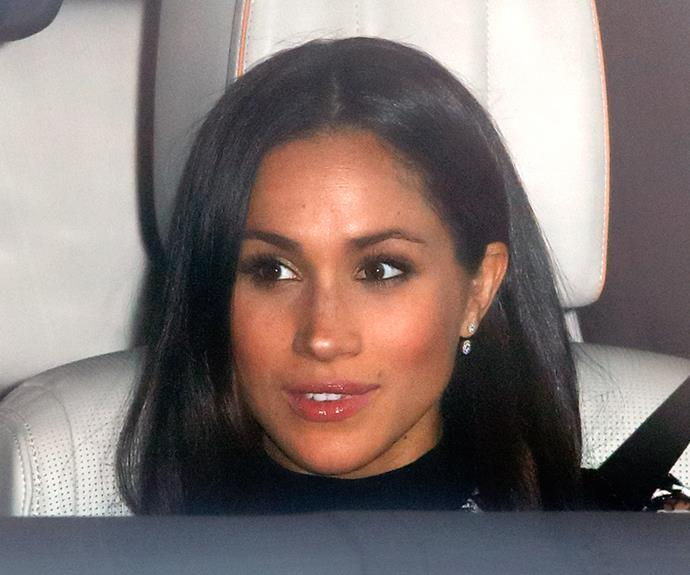 ***Lip Gloss*** <br><br> Whilst attending the Queen's pre-Christmas dinner at Sandringham House, we were delighted to see Meghan sporting a lick of lip gloss along with her smoky eye. Due to associated smearing, hair-stuck-in-gloss difficulties, royals like Kate Middleton avoid wearing gloss in public—for the sake of eluding awkward photos, if nothing else.<br><br> But here's hoping Meghan's bringing back a little bit of shine into the fold.