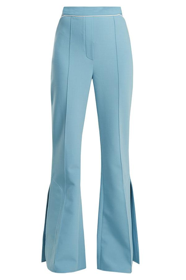 """Flares, $995, Ellery at [Matches Fashion](https://www.matchesfashion.com/au/products/Ellery-Orlando-mid-rise-flared-crepe-trousers-1185612