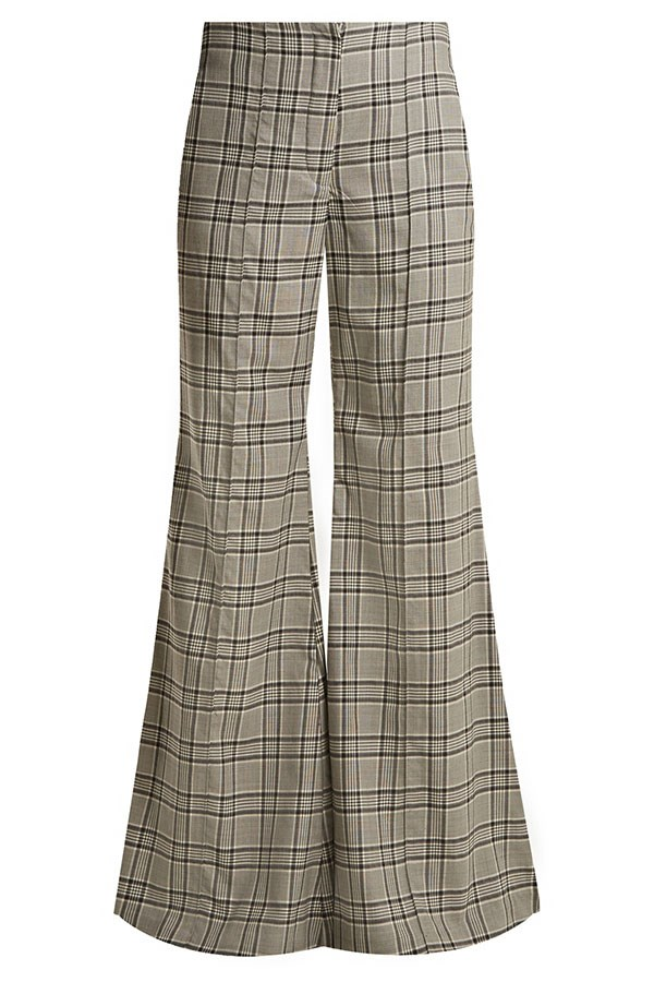 "Flares, $368 Zimmermann at [Matches Fashion](https://www.matchesfashion.com/au/products/Zimmermann-Rife-checked-kick-flare-wool-trousers-1171254|target=""_blank""