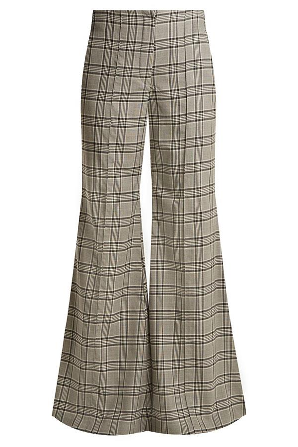 """Flares, $368 Zimmermann at [Matches Fashion](https://www.matchesfashion.com/au/products/Zimmermann-Rife-checked-kick-flare-wool-trousers-1171254