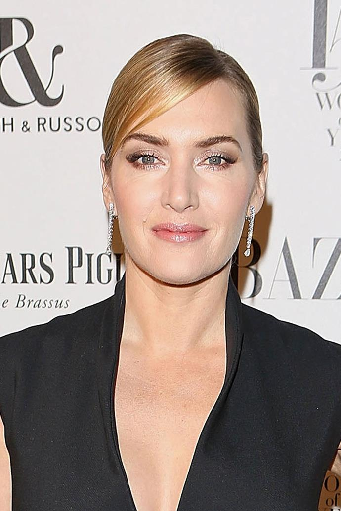"""**Kate Winslet** <br><br> Although Kate Winslet employs the help of a hair and makeup team, she definitely loves to do her own makeup. She once told a publication, """"""""I like to do my own makeup. I never use too much powder, only in the right areas. I have peachy fuzz on my cheeks, so I have to be careful with powder."""""""