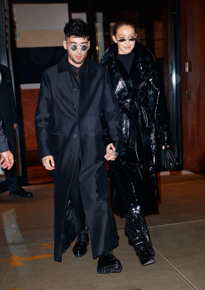 """**January, 2018**<br><br>  Gigi and Zayn had a couple's """"Matrix"""" moment while out in New York City, celebrating Zayn's 25th birthday."""