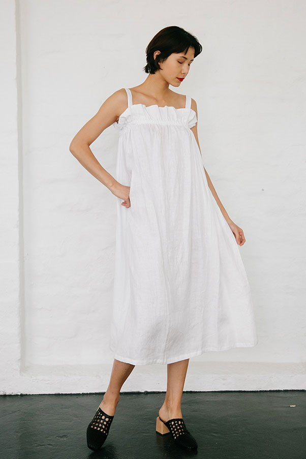 "Dress by Nice Martin, $159.95 at [Nice Martin](https://www.nicemartin.com/collections/pre-order/products/riley-dress-white|target=""_blank""