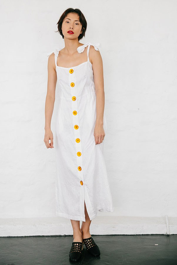 "Dress by Nice Martin, $159.95 at [Nice Martin](https://www.nicemartin.com/collections/pre-order/products/matteo-dress-white|target=""_blank""