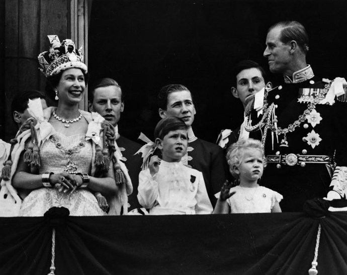 Princes Charles and Princess Anne on the balcony of Buckingham Palace