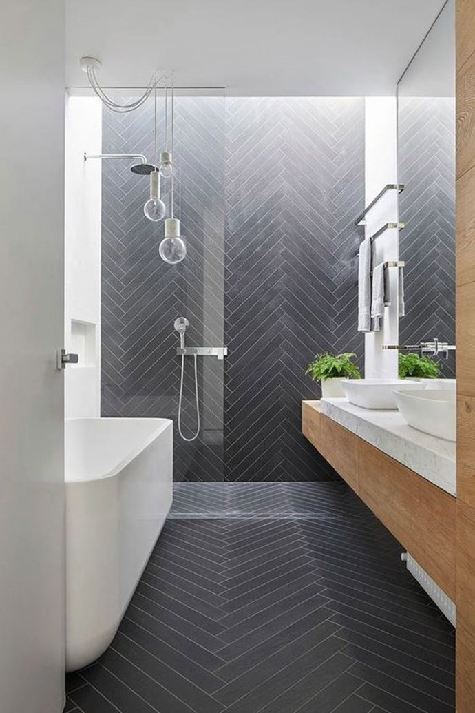 "**HERRINGBONE PATTERNS** <br><br> Choosing herringbone wall tiles or floor boards will add an element of dimension to a space, as well as creating a modern aesthetic. <br><br> Saves for ""herringbone patterns"" have increased by 131 per cent. <br><br> Image via: [Pinterest](https://www.pinterest.com.au/pin/321796335866344125/