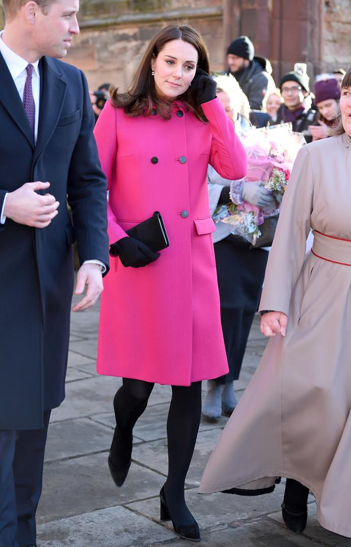 **January 16th, 2018**<br><br>  Kate wore her favourite bright pink Mulberry coat while visiting the Coventry Cathedral; it's the first time she's worn the coat during her third pregnancy.