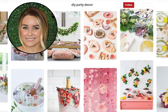 "**Lauren Conrad** <br><br> Account name: [LaurenConrad1](https://www.pinterest.com.au/laurenconrad1/diy-party-decor/|target=""_blank"") <br><br> Follower count: 1.1 million <br><br> Lauren Conrad shares everything from DIY decorating tips, food recipes, fashion tips and beauty ideas. Her Pinterest account, which has a pink aesthetic, is basically everything a self-proclaimed fashion lover would appreciate."