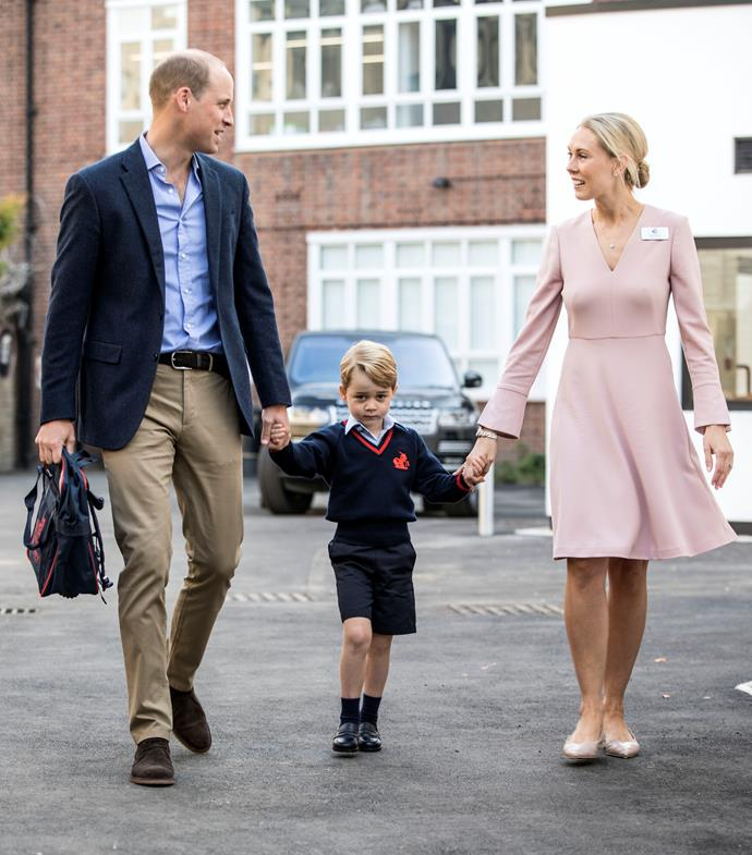 **Staying in school** <br><br> The family has relocated again, back to London, in order for George to start school. The place they chose for George was *Thomas' Battersea*, a small private co-ed school not too far away from Kensington Palace. It was expected that George would attend *Wetherby School*, where both Harry and William attended, but again, the little Prince has bucked the trend.