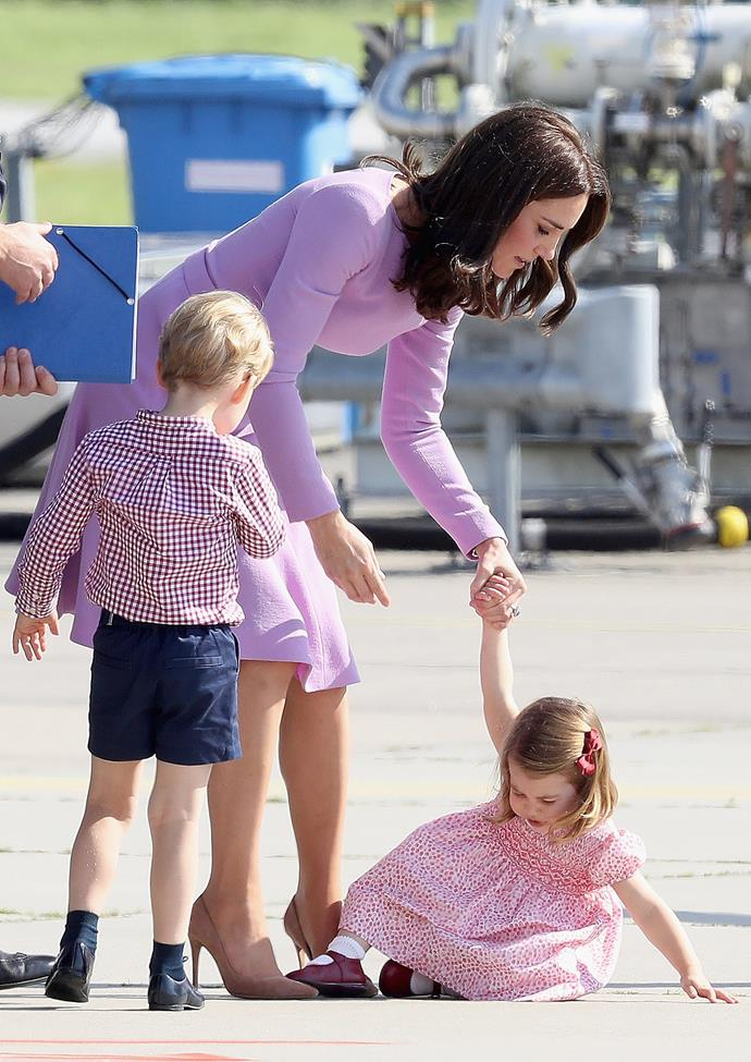 **Not concealing their emotions in public** <br><br> As previously mentioned, there is a large list of etiquette rules and regulations that the royals have to abide by—and without physically reading said rules, we can assume that throwing a tantrum is not to be desired. However, that didn't stop Charlotte from royally kicking off when she was boarding a plane in Germany, or prevent George from heavily eye rolling at almost every royal visit.