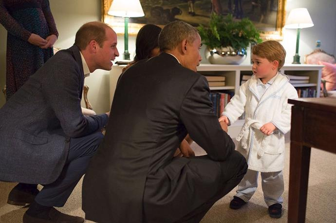 **Keeping things casual** <br><br> Though Prince George does adhere to a lot of royal style rules (such as only wearing shorts and long socks), he did opt to keep things very casual when he met then-President Obama. William was in a suit, Kate donned a dress and heels, but George shook Obama's hand dressed in his pyjamas and dressing gown. In his defence, it was a very fancy pair of pyjamas.