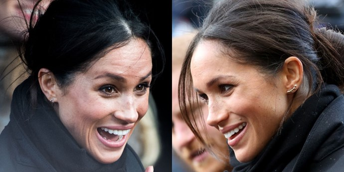 "***Mismatched Earrings***<br><br> For latest royal appearance at Cardiff Castle, Meghan Markle stepped out wearing mismatched earrings, a particularly edgy style move for a member of the royal family.<br><br> Both silver earrings aligned with the minimalist jewellery trend but the designs were quite different. On her right ear was a embellished [Zofia Day dash stud](https://zofiaday.myshopify.com/products/dash-ear-studs|target=""_blank"") and, on the left, a [Gabriela Artigas triple shooting star post](https://www.shopbop.com/triple-shooting-star-earrings-gabriela/vp/v=1/1532073955.htm