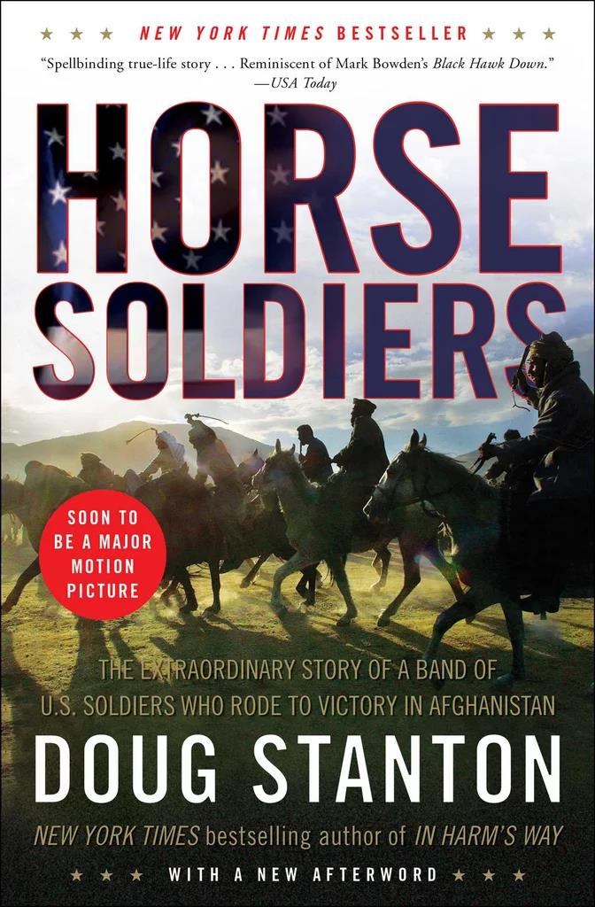 ***Horse Soldiers* by Doug Stanton** <br><br> **Synopsis:** The true story of a band of US soldiers who rode to victory in Afghanistan after the 9/11 attack. The film adaptation has been retitled *12 Strong*. <br><br> **Who's in it:** Chris Hemsworth, Elsa Pataky, Michael Shannon, Michael Peña and Trevante Rhodes. <br><br> **Release date:** March 8