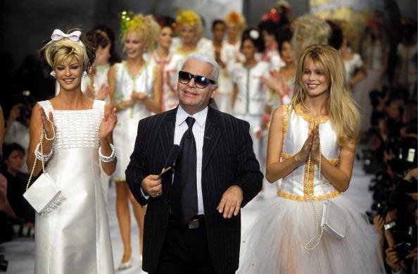 Karl Lagerfeld at the Chanel Show in 1995.
