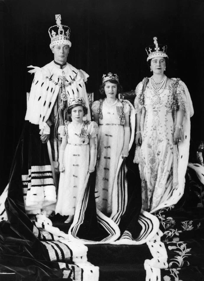 Queen Elizabeth, Princess Elizabeth and Princess Margaret with King George VI on the day of his coronation, May 12, 1937.