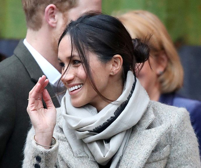 Meghan visits Reprezent 107.3FM on January 9, 2018.