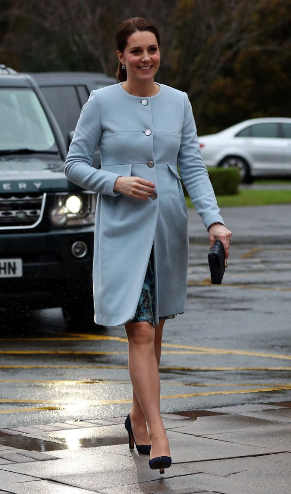 "**January 24th, 2018**<br><br>  Kate wore a powder blue coat and dress by her [go-to maternity brand Seraphine](https://www.harpersbazaar.com.au/celebrity/kate-middleton-wearing-seraphine-15277|target=""_blank""), while visiting Maurice Wohl Clinical Neuroscience institute to learn more about postpartum depression overnight."