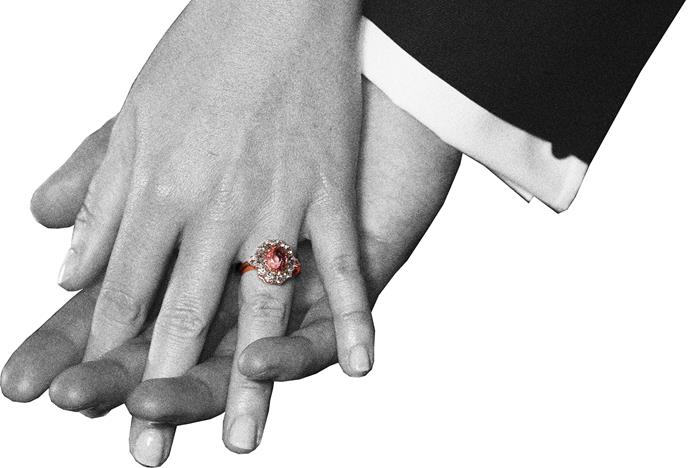 Princess Eugenie's padparadscha sapphire ring.