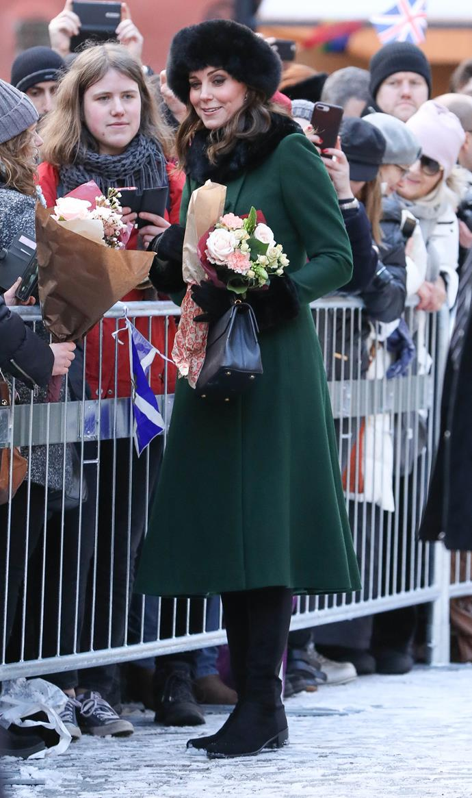 January 30, 2018 - In Stockholm, when Kate is pregnant with her third child.