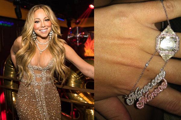 **Mariah Carey** <br><br> Mariah Carey is no stranger to extravagance, so it is only fitting that ex-husband Nick Cannon gifted her with a custom-made white gold necklace that spells out the name of her twins (Moroccan and Monroe) in diamonds and pink sapphires. It is also fitting that this necklace is a perfect match to her wedding ring also featuring pink and white diamonds. The necklace is reported to have four carats of diamonds and pink sapphires, and cost Cannon around $12,000.