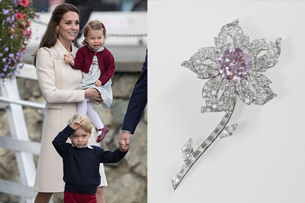 "**Kate Middleton** <br><br> Prince William is said to have helped design his push present to the Duchess of Cambridge with the help of Queen Elizabeth's personal jewellers to celebrate the birth of their first child, Prince George. The brooch features white diamonds with a fancy pink diamond as the centrepiece.  <br><br> Prince William is said to have contributed many ideas for the brooch to make it more personal—wanting the diamonds to show his true love for Kate. The big added value of the piece is certainly the pink diamond, which because of its colour, is even rarer than most white diamonds. This pink diamond likely came from the Argyle Diamond Mine in Australia, as the majority of pink diamonds found today are native to the region. The most interesting fact about this is that the Argyle Mine is said to close in the next 2 years because of exhausted production. When the world's largest source for pink diamonds is no longer around, you can expect the value of these pink beauties to increase exponentially.  <br><br> Of course, anything belonging to the ""People's Princess"" is going to be worth more, so the stones from her brooch would appreciate in value due to their rich history and inherent value. Although many people may not know it, diamonds not only maintain their value over time but they actually appreciate in value, unlike laboratory grown diamonds that have recently emerged in the diamond marketplace."