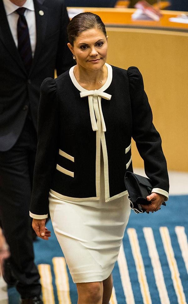 Wearing a fitted ivory number and preppy two-tone blazer for the opening of parliamentary session in Stockholm on September 12, 2017.