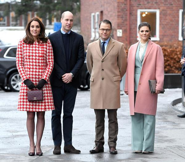 Wearing a mint Rodebjer pant suit, finished with a millennial pink coat and Victorian collared shirt with husband, Prince Daniel, Kate Middleton and Prince WIlliam for a visit to the Karolinska Institute in Stockholm on January 31, 2018.