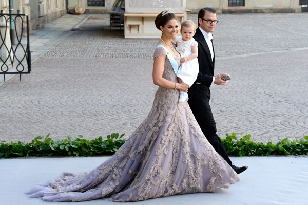 Wearing a flowing lavender ballgown for the wedding of Princess Madeleine of Sweden and Christopher O'Neill in Stockholm on June 8, 2013