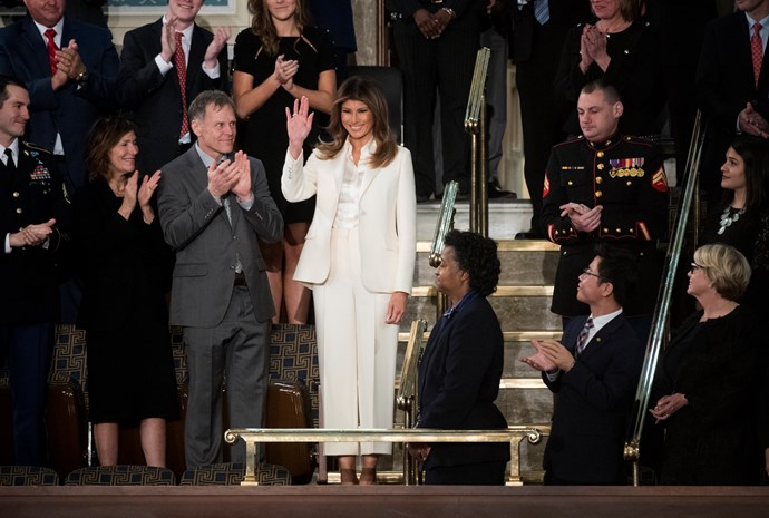 "In a white Christian Dior pantsuit at the State of Union address (which lead to some [Hillary Clinton comparisons](https://www.harpersbazaar.com.au/fabulous-at-every-age/hillary-clinton-pantsuits-9314|target=""_blank""