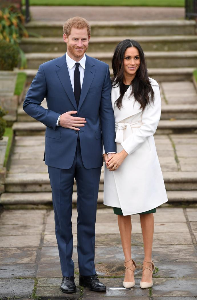 **2017**<br><br>  In a The Line coat and Aquazurra shoes while announcing her engagement to Prince Harry.