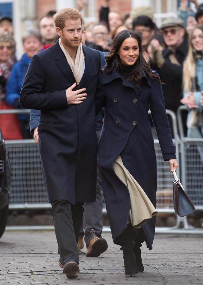 **2017**<br><br>  In Nottingham with Prince Harry wearing a Mackage coat and a Strathberry handbag.
