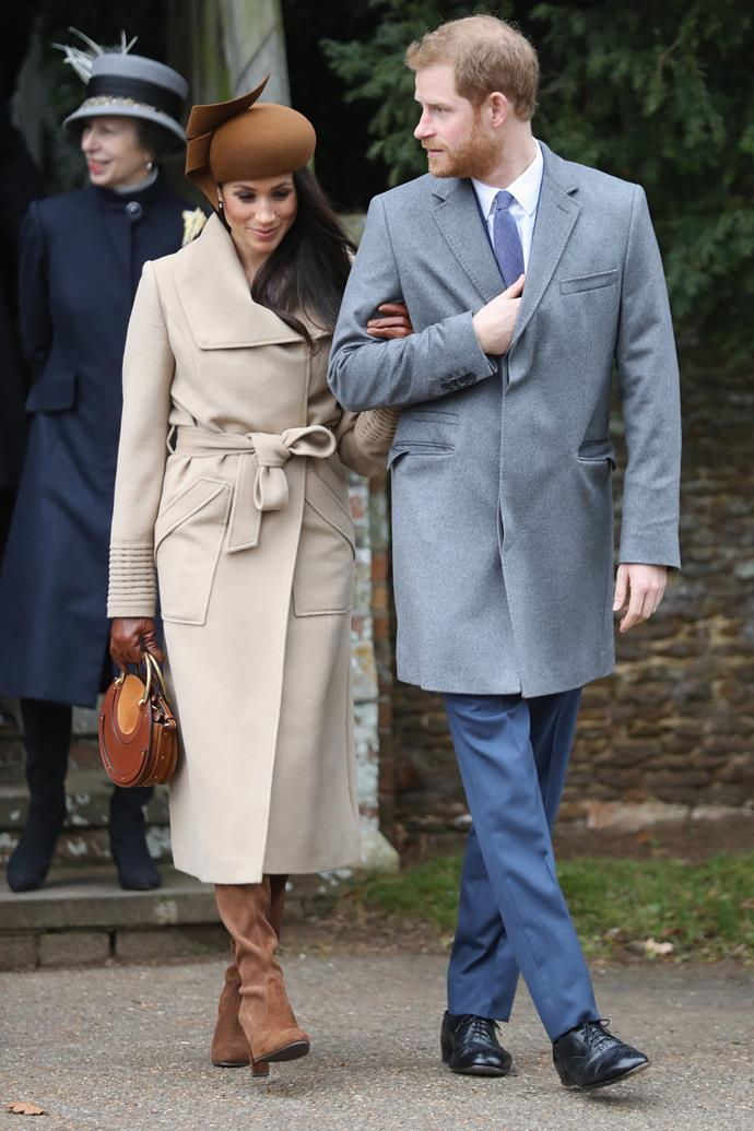 **2017**<br><br>  In a Philip Treacy hat, Sentaler coat, Chloe handbag and Stuart Weitzman boots at Sandringham for Christmas mass.