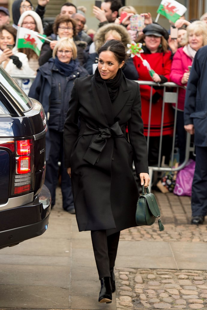 **2018**<br><br>  In a Stella McCartney coat, Huit Denim jeans, Tabitha Simmons boots and a DeMellier handbag while visiting Cardiff, Wales.
