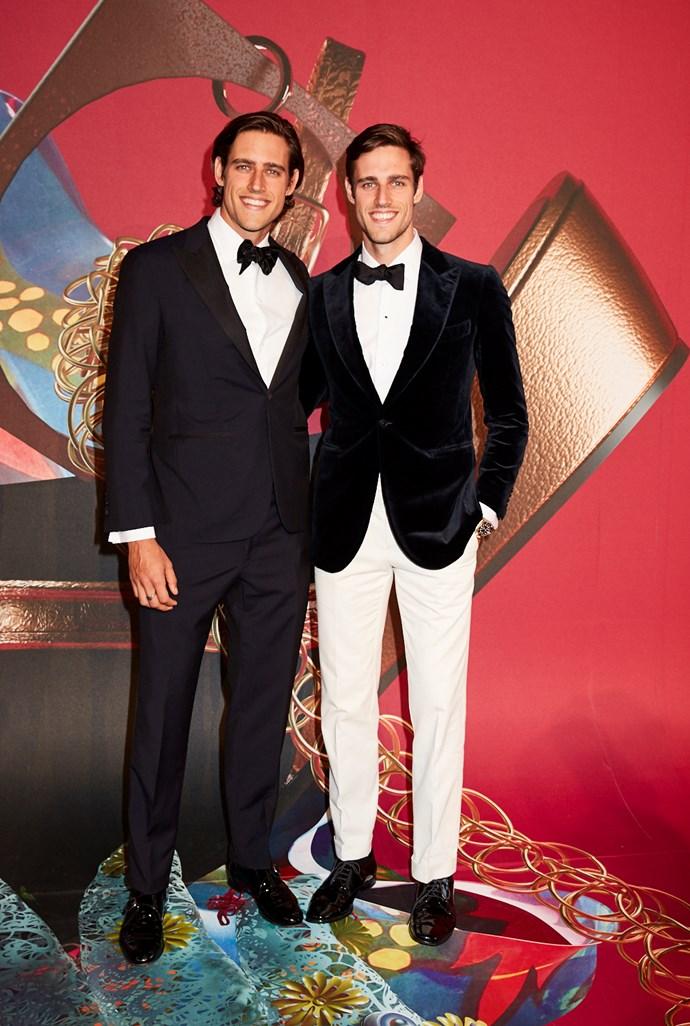 Models Jordan and Zac Stenmark, both wearing P.Johnson from MR PORTER