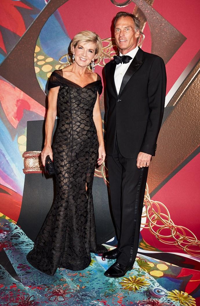 Foreign Minister Julie Bishop, wearing Rachel Gilbert, and David Panton