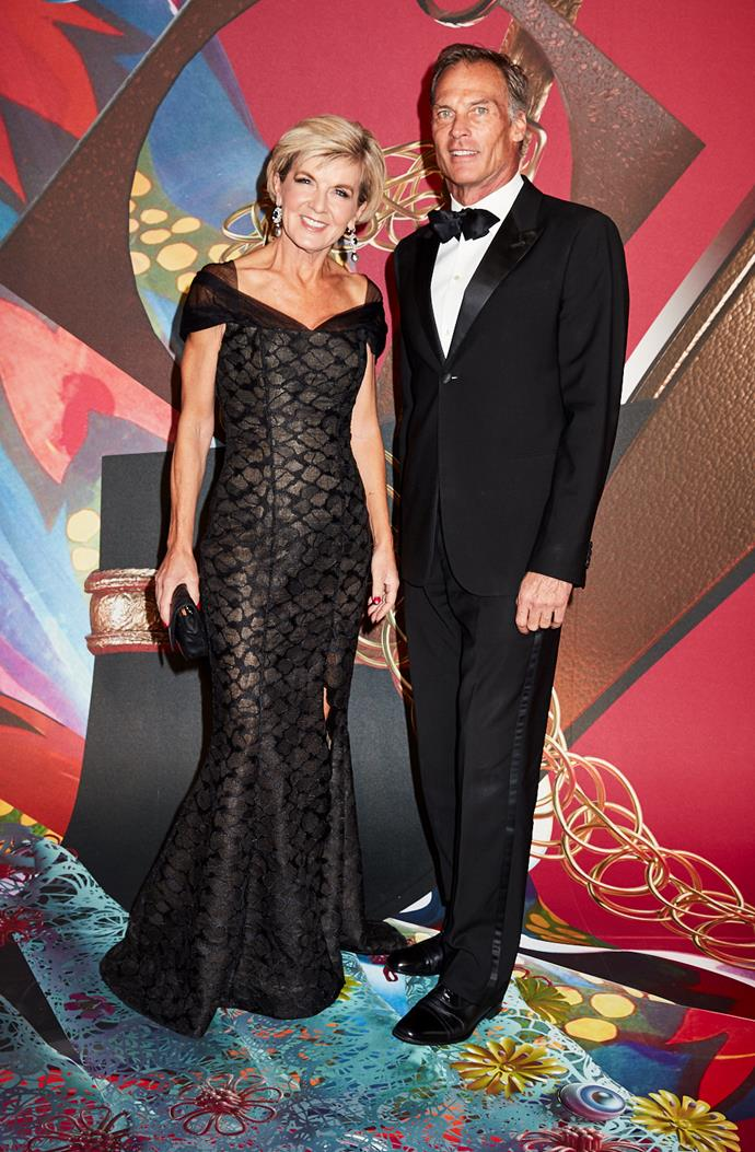 Foreign Minister Julie Bishop, wearing Rachel Gilbert, and David Panton