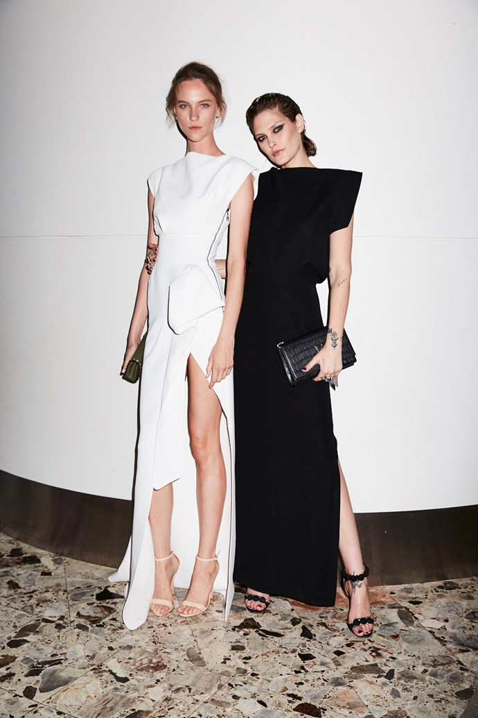 Models Nicole Pollard and Catherine McNeil wearing Balenciaga from NET-A-PORTER