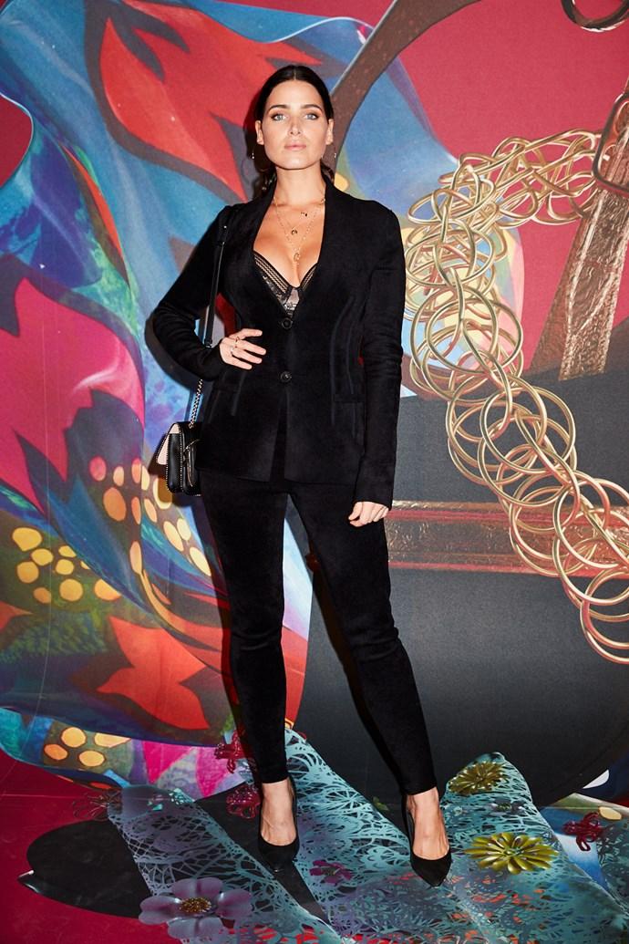 Model Tahnee Atkinson wearing Ferragamo