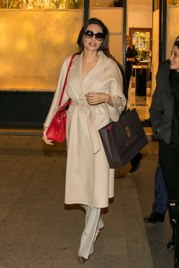 Leaving a Guerlain store in Paris, January 29th 2018.