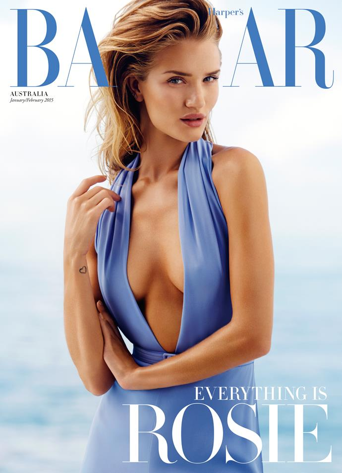 **Rosie Huntington-Whiteley, January/February 2015**    **Huw Reynolds, creative director**   The cover line says it all. The blue of the dress and the masthead looked so fresh.