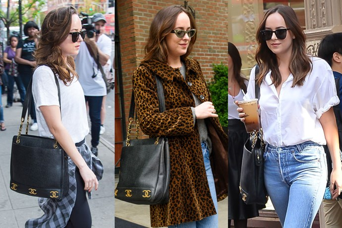 "**Dakota Johnson**  **Designer:** Chanel   **Style:** Vintage Tote  **Where to buy:** Shop similar, $1,840 at [Vestiaire Collective](https://www.vestiairecollective.com/women-bags/handbags/chanel/black-leather-chanel-handbag-5126816.shtml|target=""_blank""