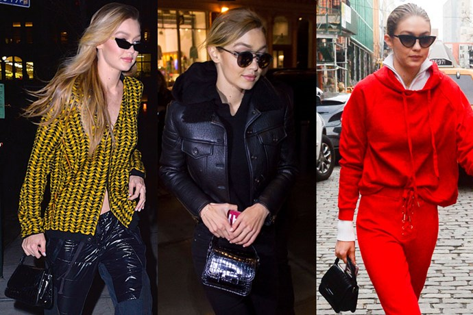 "**Gigi Hadid**  **Designer:** Fendi  **Style:** Double T Satchel  **Where to buy:** $1,360 at [Tods](http://store.tods.com/Tods/US/Tod%27s-Double-T-Satchel-Small/p/XBWAMUU0200IXTB999|target=""_blank""