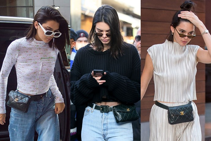 "**Kendall Jenner**  **Designer:** Chanel   **Style:** Belt Bag  **Where to buy:** $1,290 at [Vestiaire Collective](https://www.vestiairecollective.com/women-bags/handbags/chanel/black-leather-handbag-timeless-chanel-1391991.shtml|target=""_blank""|rel=""nofollow"")"