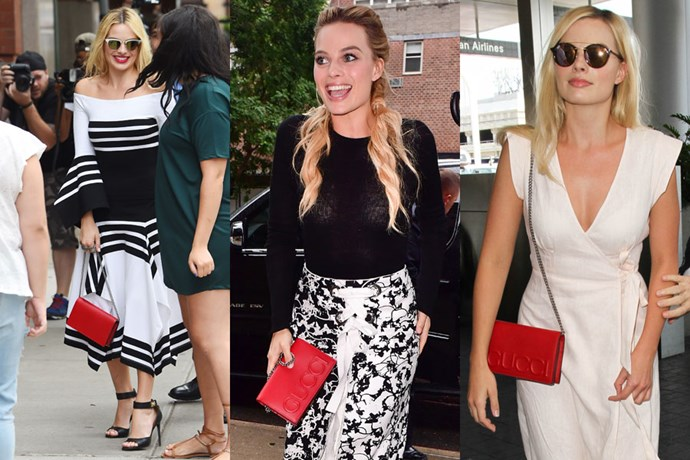"**Margot Robbie**  **Designer:** Gucci  **Style:** Embossed Clutch  **Where to buy:** Shop similar, $2,375 at [MyTheresa.com](https://www.mytheresa.com/en-au/gucci-ophidia-suede-crossbody-bag-923827.html?catref=category|target=""_blank""