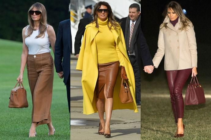 "**Melania Trump**  **Designer:** Hermès  **Style:** Birkin 35  **Where to buy:** $15,370 at [Vestiaire Collective](https://www.vestiairecollective.com/women-bags/handbags/hermes/brown-leather-birkin-35-hermes-handbag-5146446.shtml|target=""_blank""|rel=""nofollow"")"