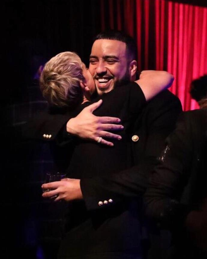 "Ellen DeGeneres hugs French Montana after he performs at her birthday party. She shared this picture to her Instagram, captioning it, ""Thanks @FrenchMontana for singing 'Unforgettable' at my party and helping make it an unforgettable night."""