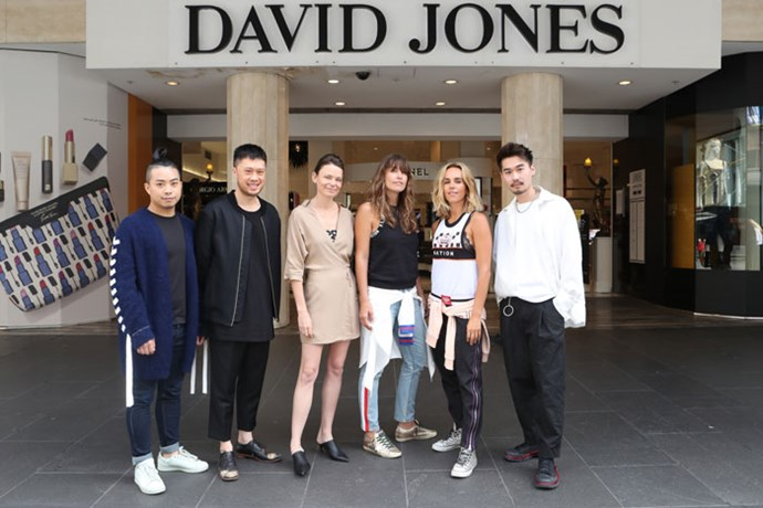 The finalists (from left to right):   Chris Ran Lin, Brian Huynh of Mndatory, Merryn Kelly of Third Form,  Claire Tregoning and Pip Edwards of P.E Nation and Rong Chen of Amxander