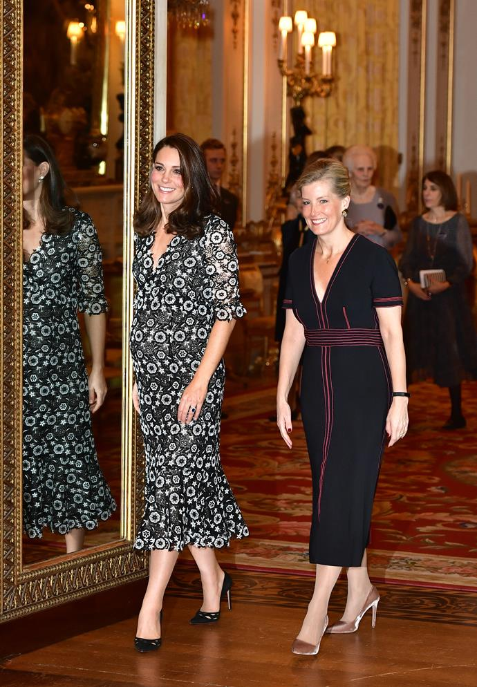 February 19 2018 - With the Countess of Wessex at The Commonwealth Fashion Exchange Reception at Buckingham Palace.
