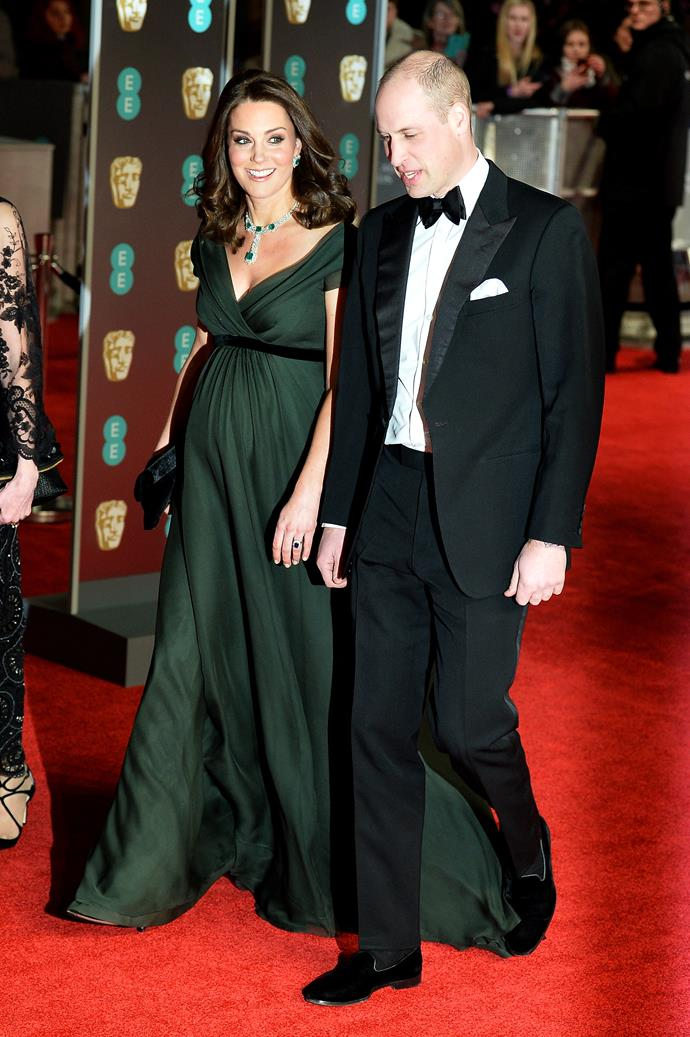 February 18th 2018 - In Jenny Packham at the BAFTAs with husband Prince William.